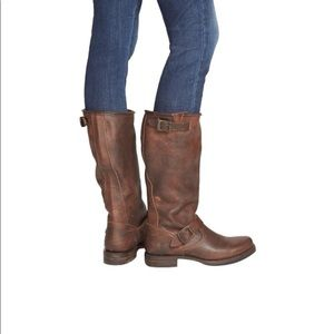 Frye Dark Brown Leather Veronica Slouch Boots